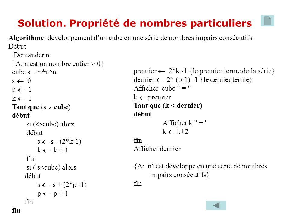 Algorithme: développement dun cube en une série de nombres impairs consécutifs. Début Demander n {A: n est un nombre entier > 0} cube n*n*n s 0 p 1 k