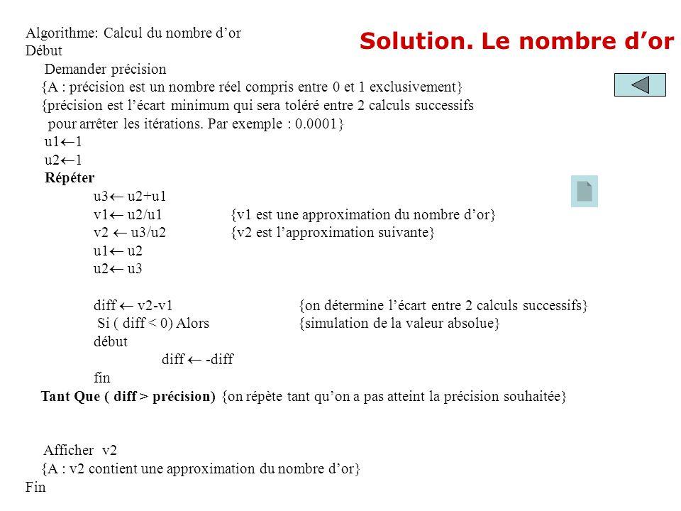 Solution. Le nombre dor Algorithme: Calcul du nombre dor Début Demander précision {A : précision est un nombre réel compris entre 0 et 1 exclusivement