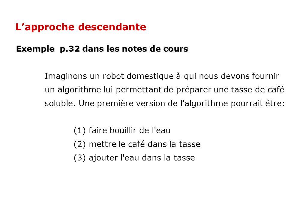 Exemple p.32 dans les notes de cours Imaginons un robot domestique à qui nous devons fournir un algorithme lui permettant de préparer une tasse de caf