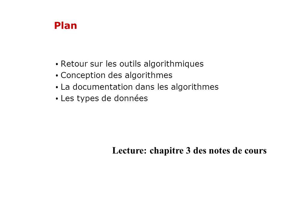 Plan Retour sur les outils algorithmiques Conception des algorithmes La documentation dans les algorithmes Les types de données Lecture: chapitre 3 de