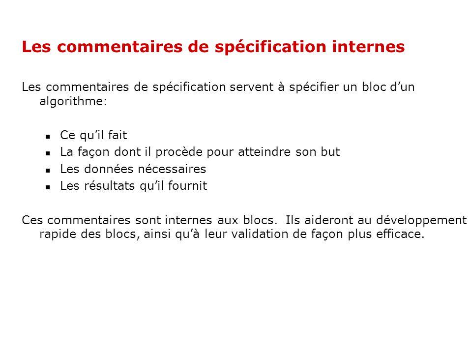 Les commentaires de spécification internes Les commentaires de spécification servent à spécifier un bloc dun algorithme: Ce quil fait La façon dont il