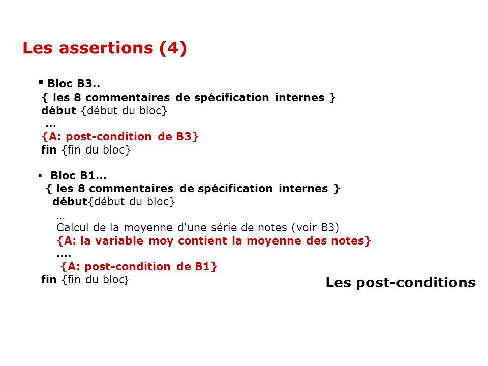 Bloc B3.. { les 8 commentaires de spécification internes } début {début du bloc} … {A: post-condition de B3} fin {fin du bloc} Bloc B1… { les 8 commen