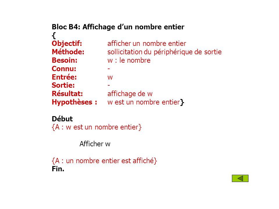 Bloc B4: Affichage dun nombre entier { Objectif: afficher un nombre entier Méthode: sollicitation du périphérique de sortie Besoin: w : le nombre Conn