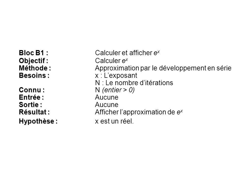 Bloc B1 : Bloc B1 : Calculer et afficher e x Objectif : Objectif :Calculer e x Méthode : Méthode :Approximation par le développement en série Besoins