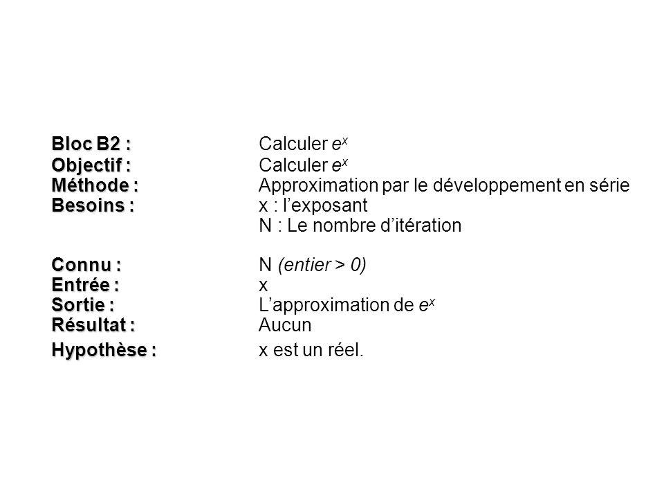 Bloc B2 : Bloc B2 : Calculer e x Objectif : Objectif :Calculer e x Méthode : Méthode :Approximation par le développement en série Besoins : Besoins :