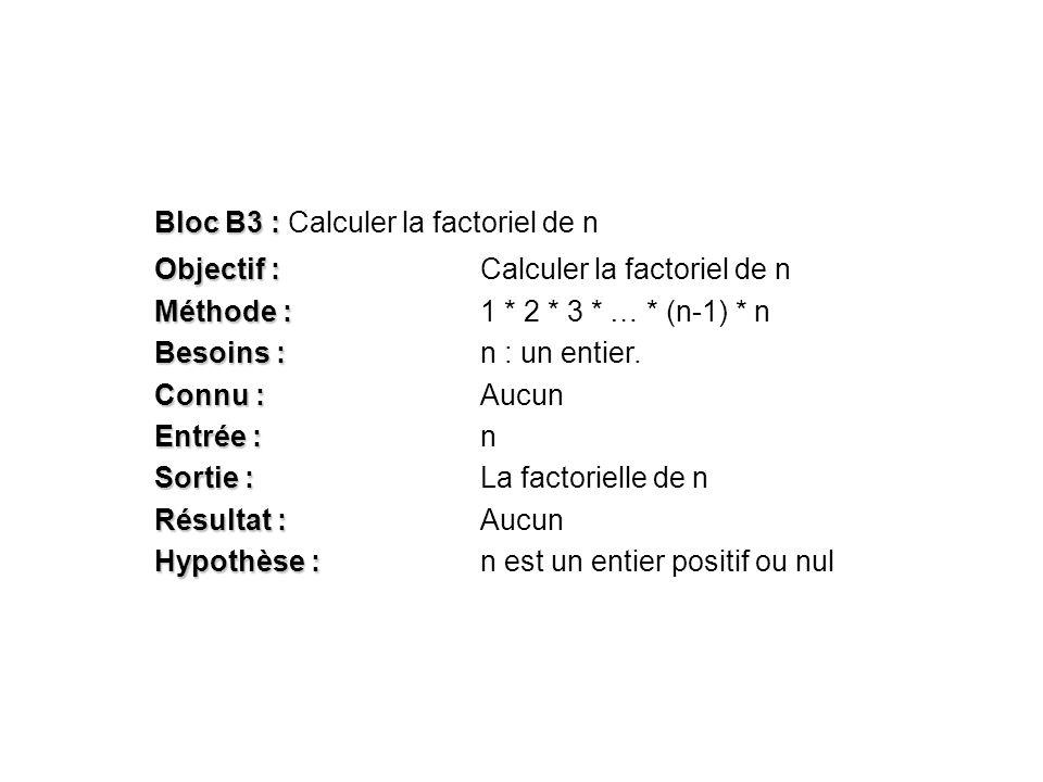 Bloc B3 : Bloc B3 : Calculer la factoriel de n Objectif : Objectif :Calculer la factoriel de n Méthode : Méthode :1 * 2 * 3 * … * (n-1) * n Besoins :