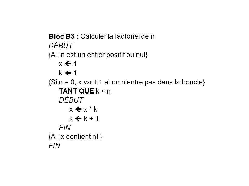 Bloc B3 : Bloc B3 : Calculer la factoriel de n DÉBUT {A : n est un entier positif ou nul} x 1 k 1 {Si n = 0, x vaut 1 et on nentre pas dans la boucle}