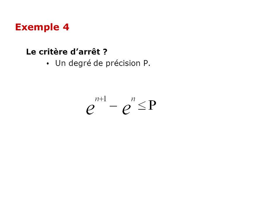 Le critère darrêt ? Un degré de précision P. Exemple 4