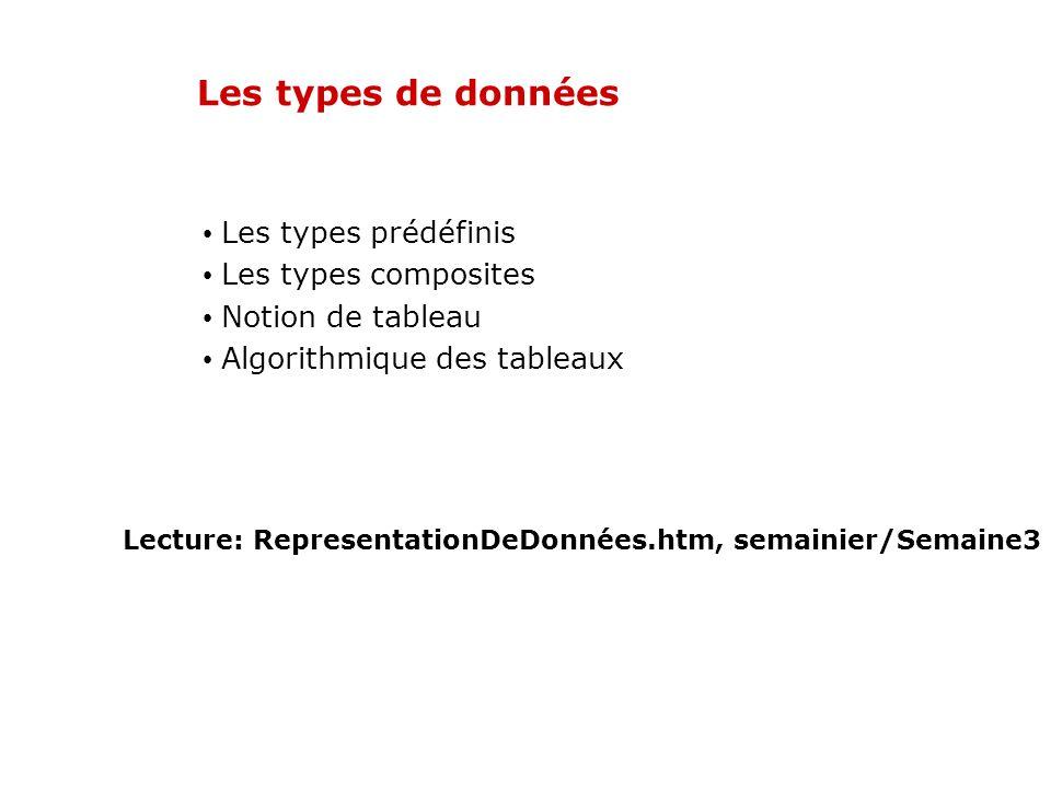 Les types de données Les types prédéfinis Les types composites Notion de tableau Algorithmique des tableaux Lecture: RepresentationDeDonnées.htm, sema