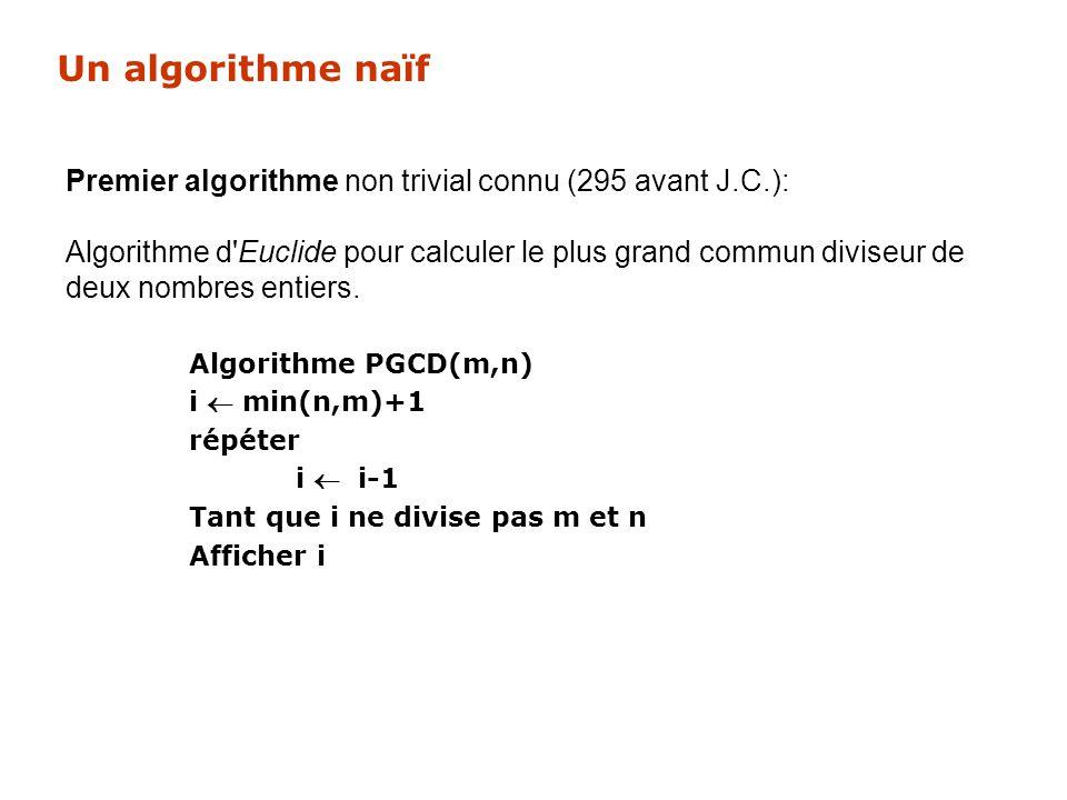 Un algorithme naïf Premier algorithme non trivial connu (295 avant J.C.): Algorithme d'Euclide pour calculer le plus grand commun diviseur de deux nom