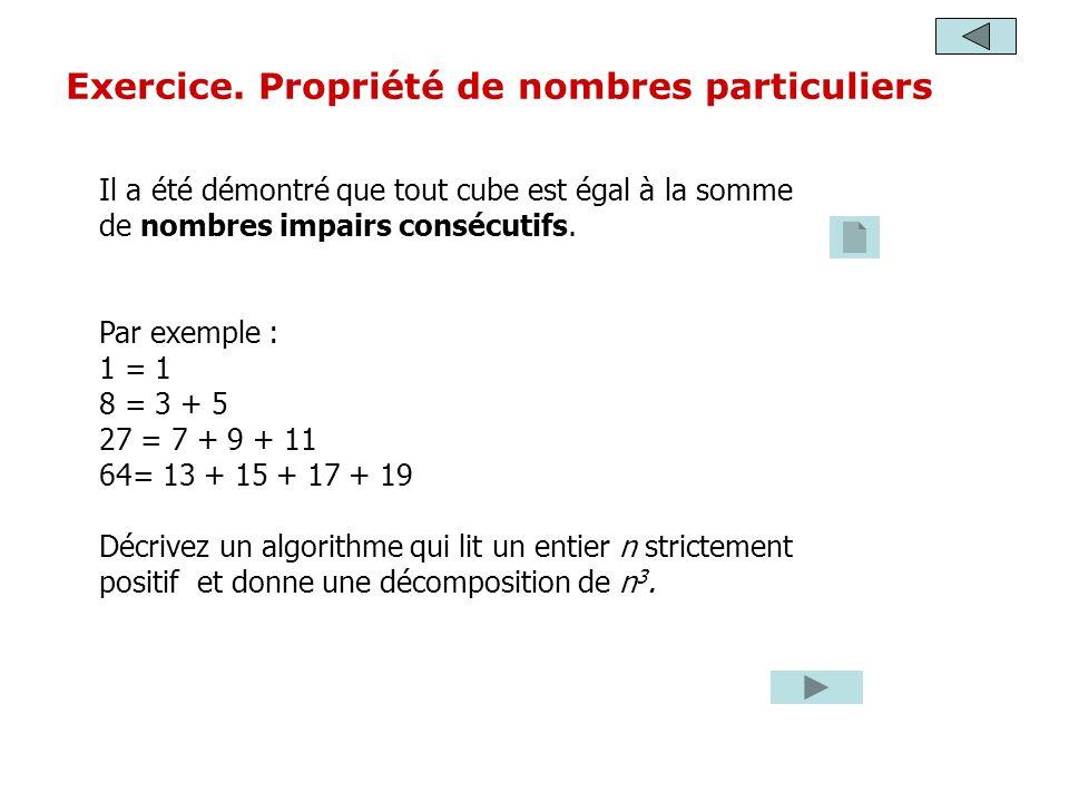 Il a été démontré que tout cube est égal à la somme de nombres impairs consécutifs. Par exemple : 1 = 1 8 = 3 + 5 27 = 7 + 9 + 11 64= 13 + 15 + 17 + 1