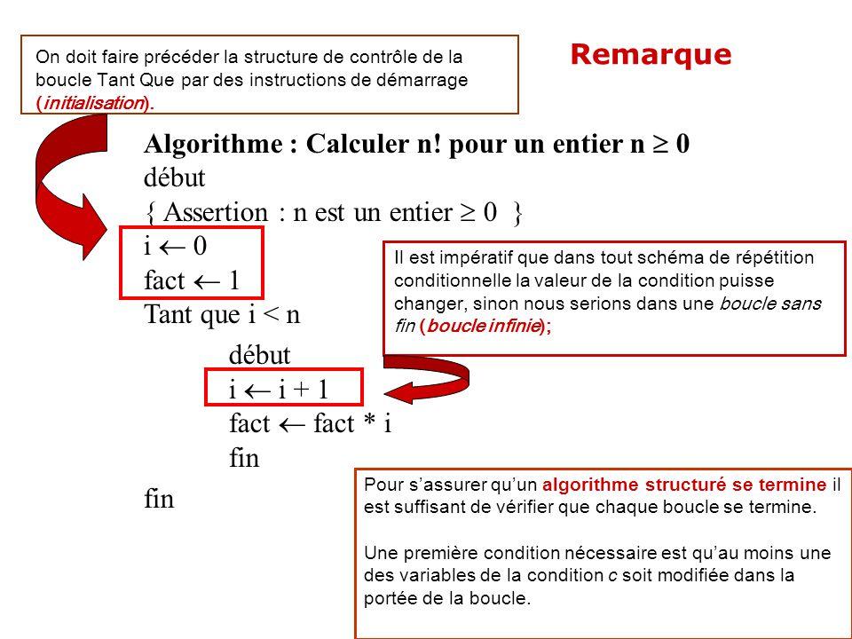 Algorithme : Calculer n! pour un entier n 0 début { Assertion : n est un entier 0 } i 0 fact 1 Tant que i < n début i i + 1 fact fact * i fin Il est i