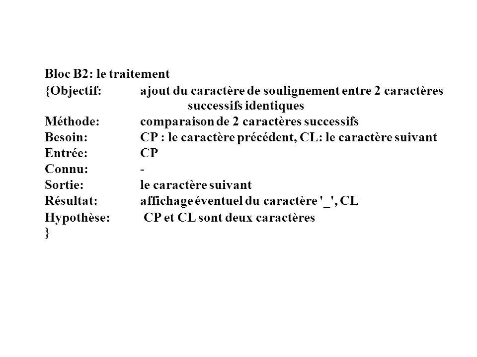 Bloc B2: le traitement {Objectif: ajout du caractère de soulignement entre 2 caractères successifs identiques Méthode: comparaison de 2 caractères suc
