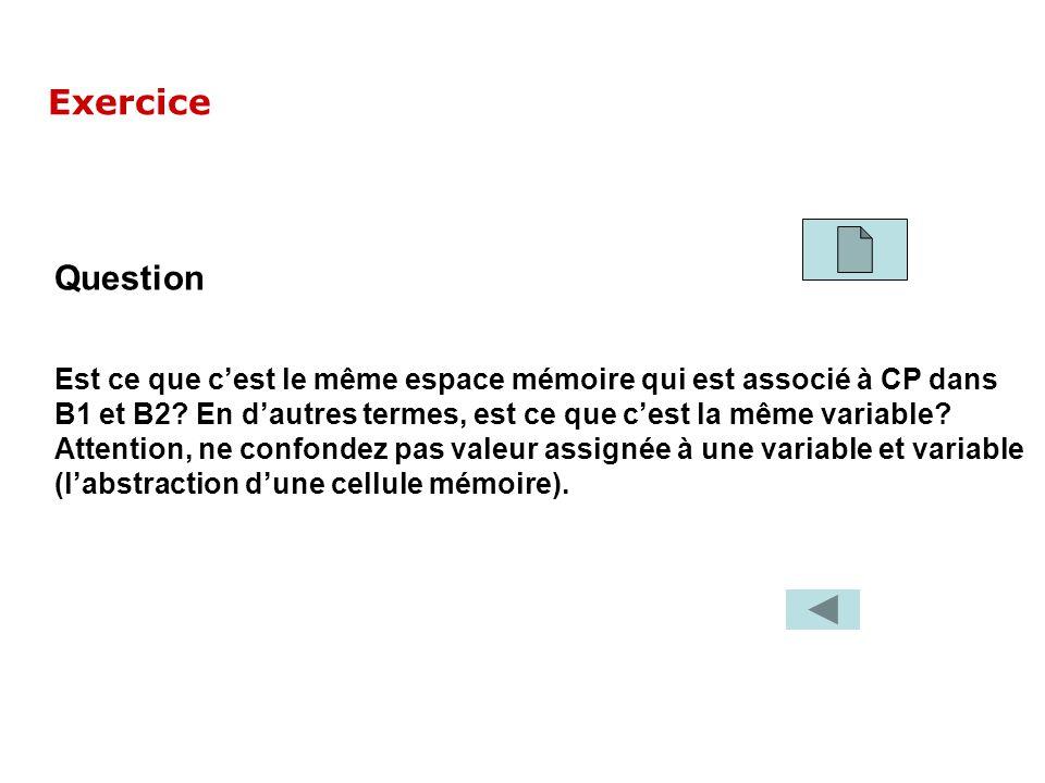 Question Est ce que cest le même espace mémoire qui est associé à CP dans B1 et B2? En dautres termes, est ce que cest la même variable? Attention, ne