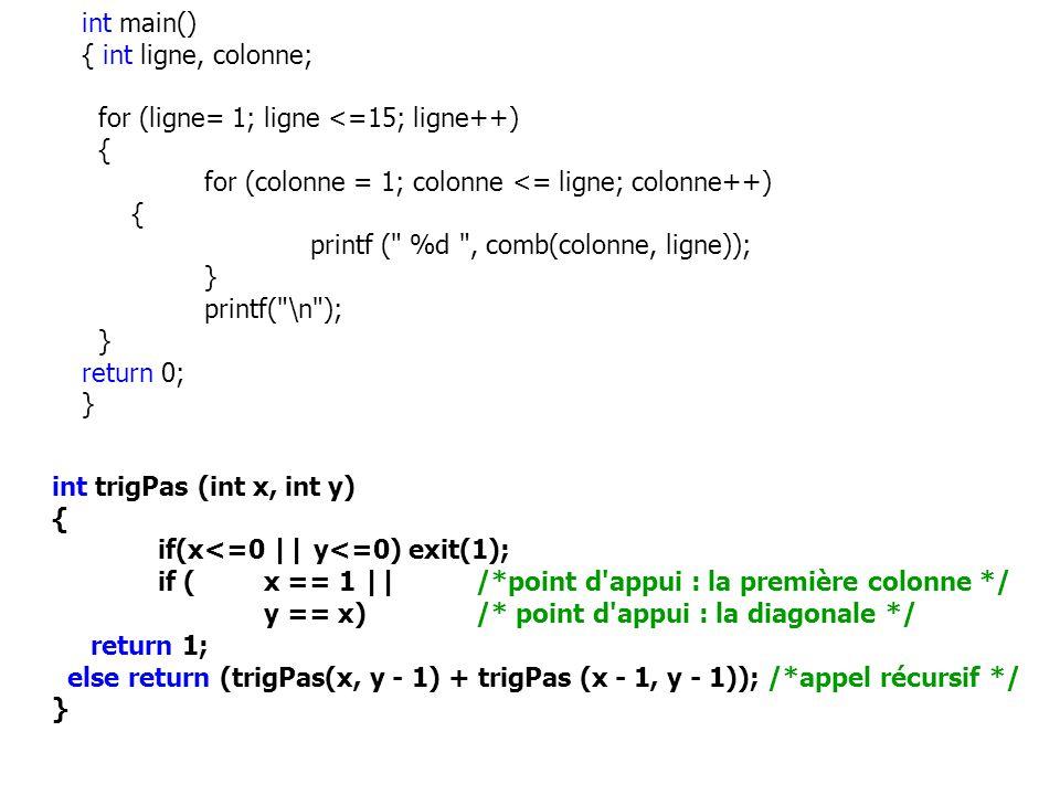 int trigPas (int x, int y) { if(x<=0 || y<=0) exit(1); if (x == 1 ||/*point d'appui : la première colonne */ y == x)/* point d'appui : la diagonale */
