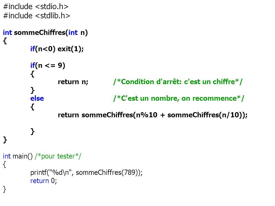 #include int sommeChiffres(int n) { if(n<0) exit(1); if(n <= 9) { return n; /*Condition d'arrêt: c'est un chiffre*/ } else /*C'est un nombre, on recom