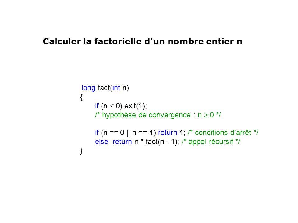 long fact(int n) { if (n < 0) exit(1); /* hypothèse de convergence : n 0 */ if (n == 0 || n == 1) return 1; /* conditions darrêt */ else return n * fa