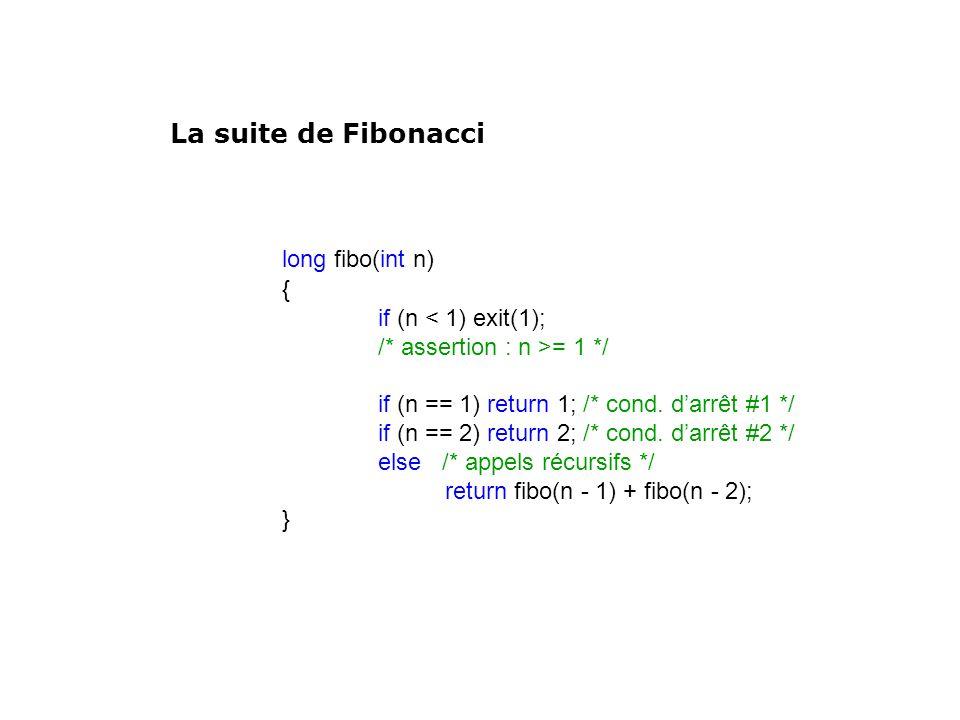 long fibo(int n) { if (n < 1) exit(1); /* assertion : n >= 1 */ if (n == 1) return 1; /* cond. darrêt #1 */ if (n == 2) return 2; /* cond. darrêt #2 *