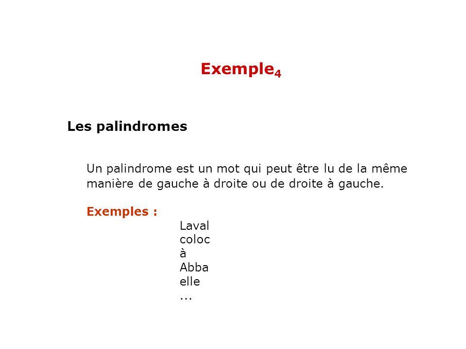 Un palindrome est un mot qui peut être lu de la même manière de gauche à droite ou de droite à gauche. Exemples : Laval coloc à Abba elle... Les palin