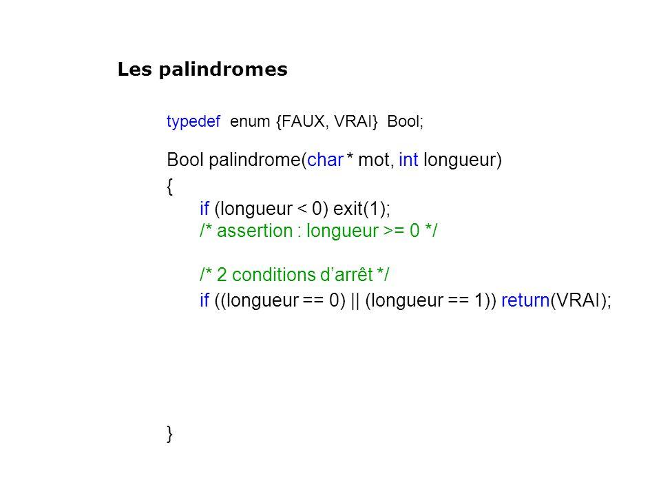 typedef enum {FAUX, VRAI} Bool; Bool palindrome(char * mot, int longueur) { if (longueur < 0) exit(1); /* assertion : longueur >= 0 */ /* 2 conditions