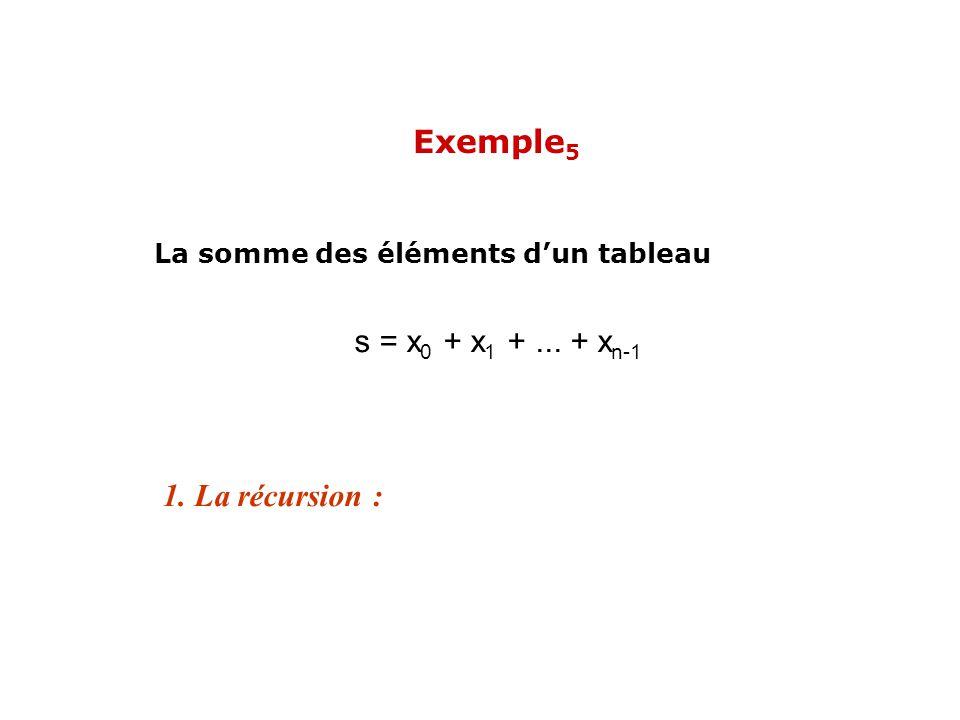 s = x 0 + x 1 +... + x n-1 1. La récursion : La somme des éléments dun tableau Exemple 5