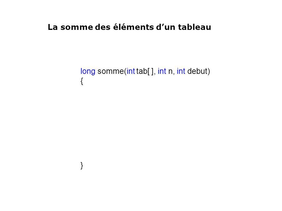 long somme(int tab[ ], int n, int debut) { } La somme des éléments dun tableau