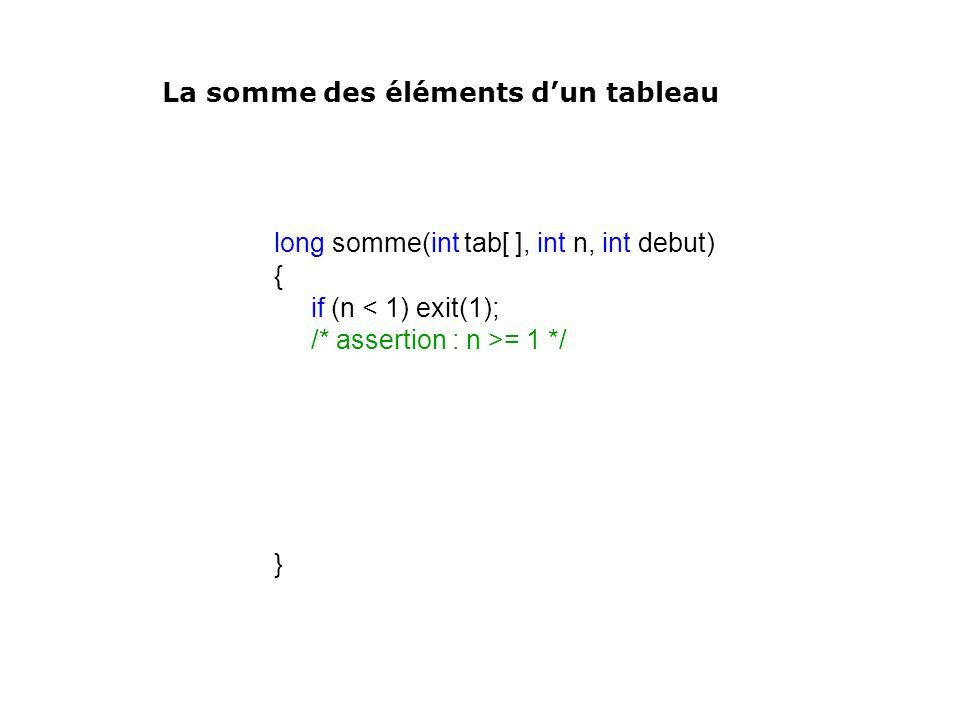 long somme(int tab[ ], int n, int debut) { if (n < 1) exit(1); /* assertion : n >= 1 */ } La somme des éléments dun tableau