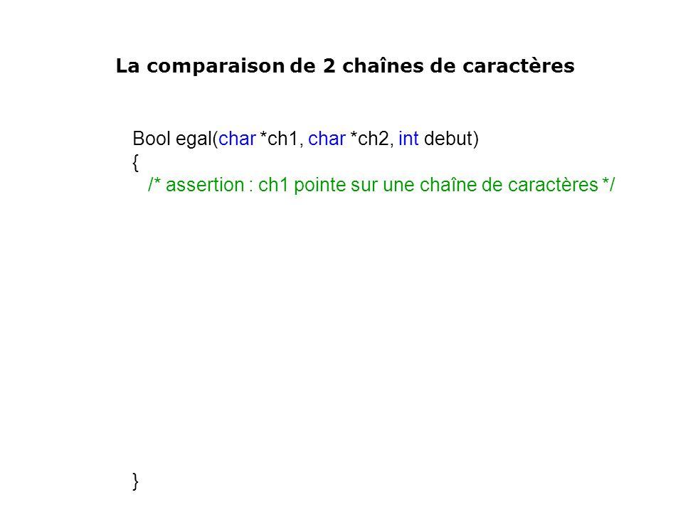Bool egal(char *ch1, char *ch2, int debut) { /* assertion : ch1 pointe sur une chaîne de caractères */ } La comparaison de 2 chaînes de caractères