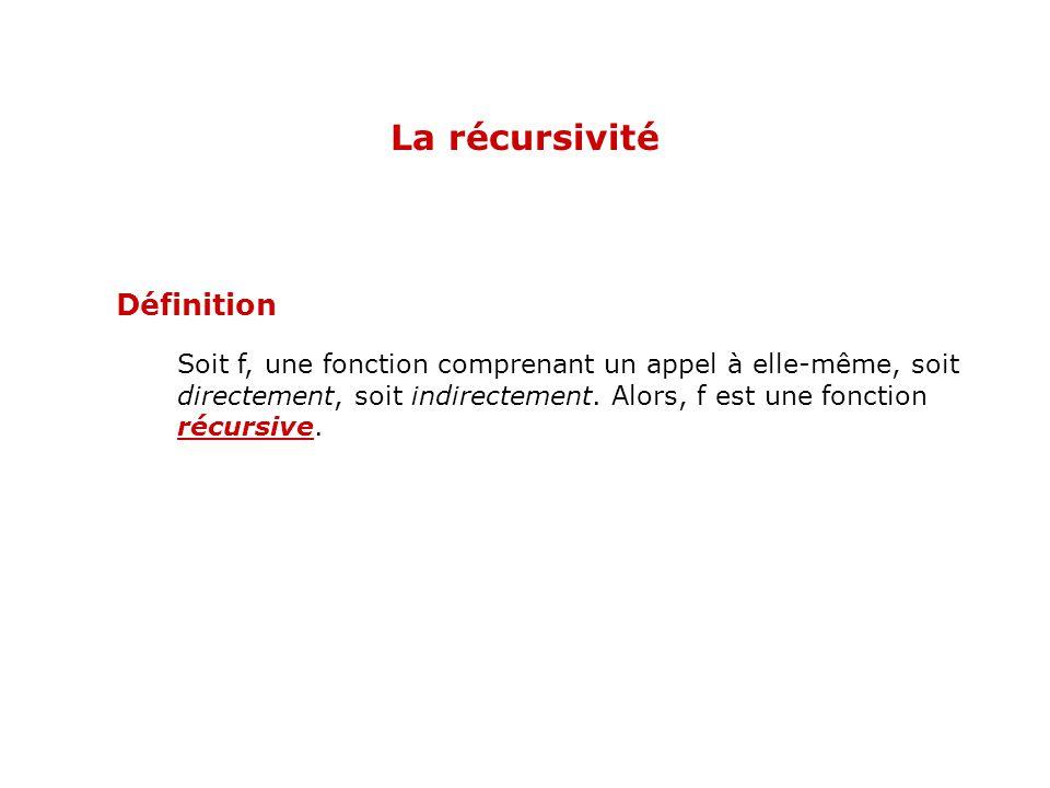 Soit f, une fonction comprenant un appel à elle-même, soit directement, soit indirectement. Alors, f est une fonction récursive. Définition La récursi