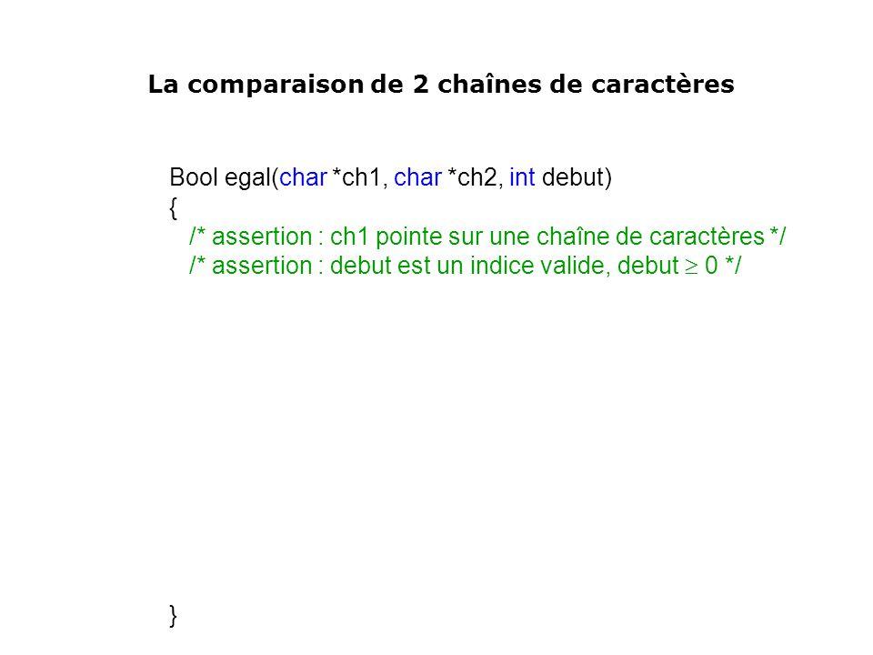 Bool egal(char *ch1, char *ch2, int debut) { /* assertion : ch1 pointe sur une chaîne de caractères */ /* assertion : debut est un indice valide, debu