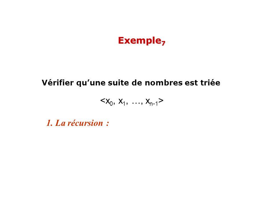 1. La récursion : Vérifier quune suite de nombres est triée Exemple 7