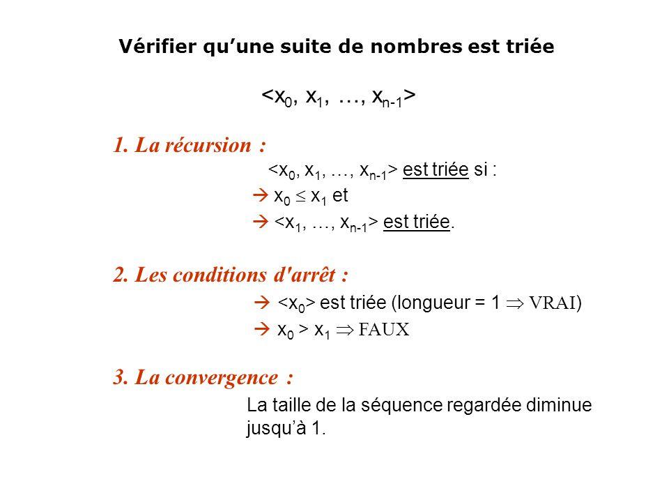1. La récursion : est triée si : x 0 x 1 et est triée. 2. Les conditions d'arrêt : est triée (longueur = 1 VRAI ) x 0 > x 1 FAUX 3. La convergence : L