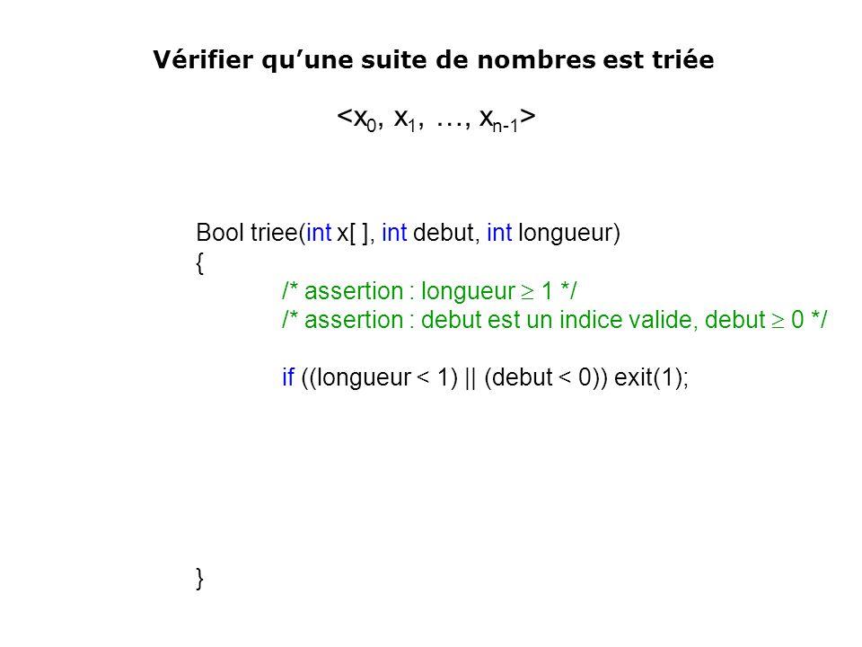 Bool triee(int x[ ], int debut, int longueur) { /* assertion : longueur 1 */ /* assertion : debut est un indice valide, debut 0 */ if ((longueur < 1)