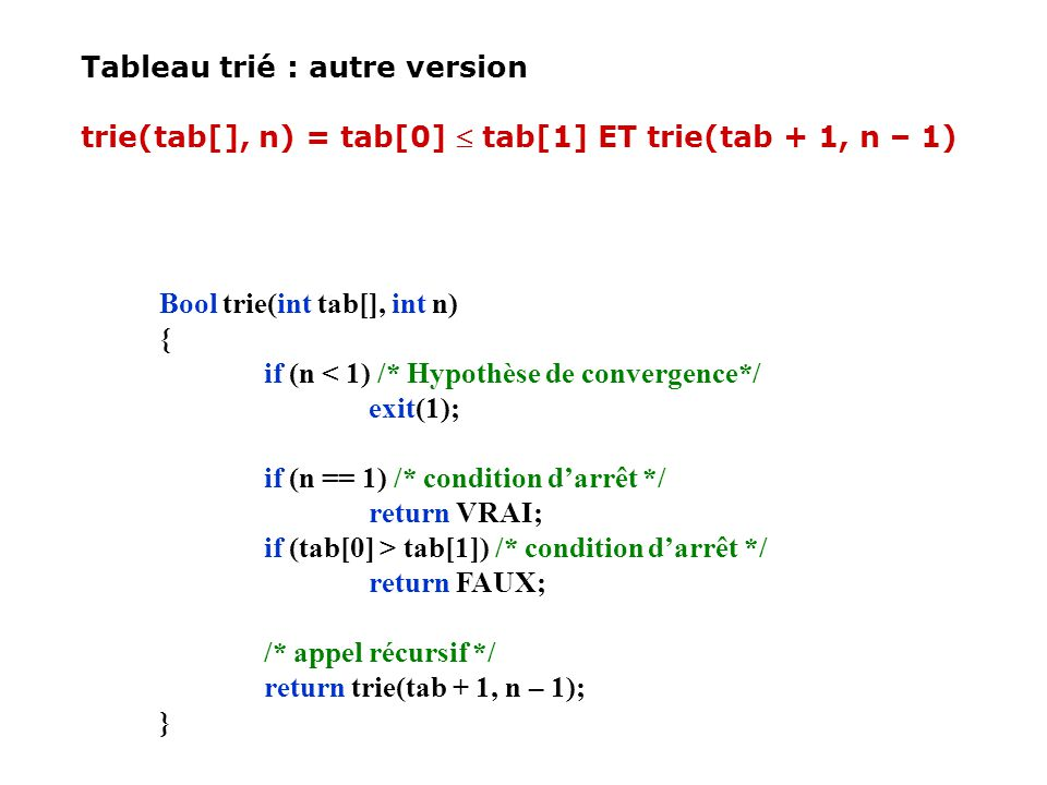 Tableau trié : autre version trie(tab[], n) = tab[0] tab[1] ET trie(tab + 1, n – 1) Bool trie(int tab[], int n) { if (n < 1) /* Hypothèse de convergen