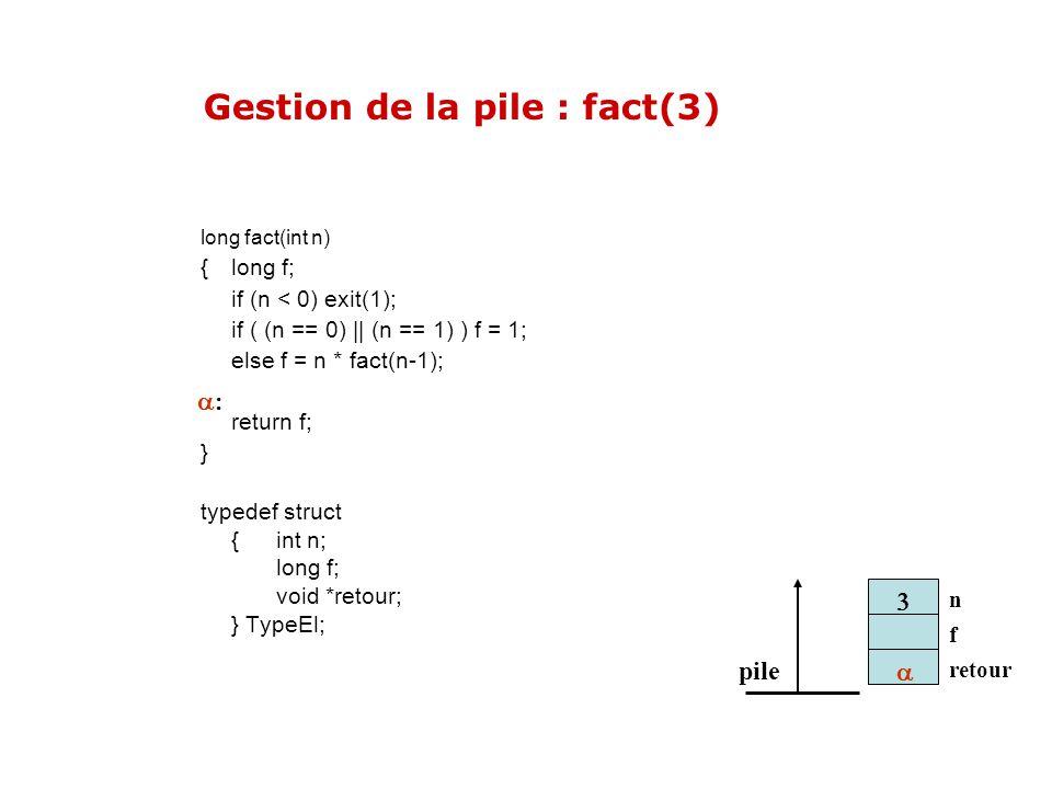 pile n f retour long fact(int n) { long f; if (n < 0) exit(1); if ( (n == 0) || (n == 1) ) f = 1; else f = n * fact(n-1); return f; } typedef struct {