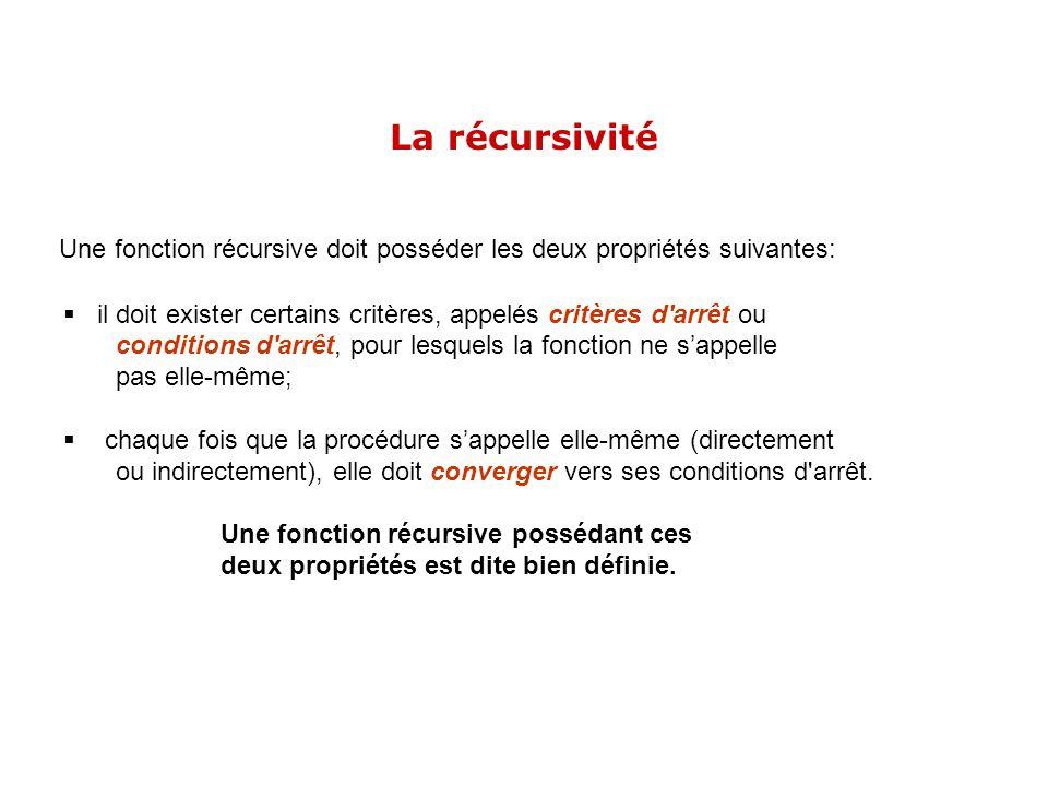 Une fonction récursive doit posséder les deux propriétés suivantes: il doit exister certains critères, appelés critères d'arrêt ou conditions d'arrêt,
