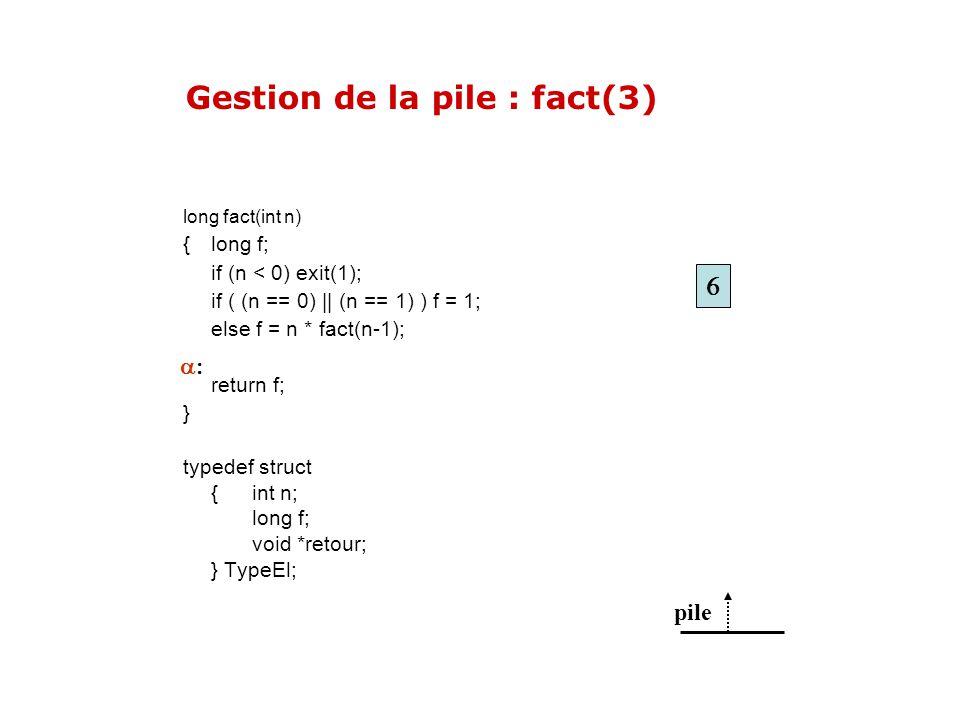 pile Gestion de la pile : fact(3) long fact(int n) { long f; if (n < 0) exit(1); if ( (n == 0) || (n == 1) ) f = 1; else f = n * fact(n-1); return f;