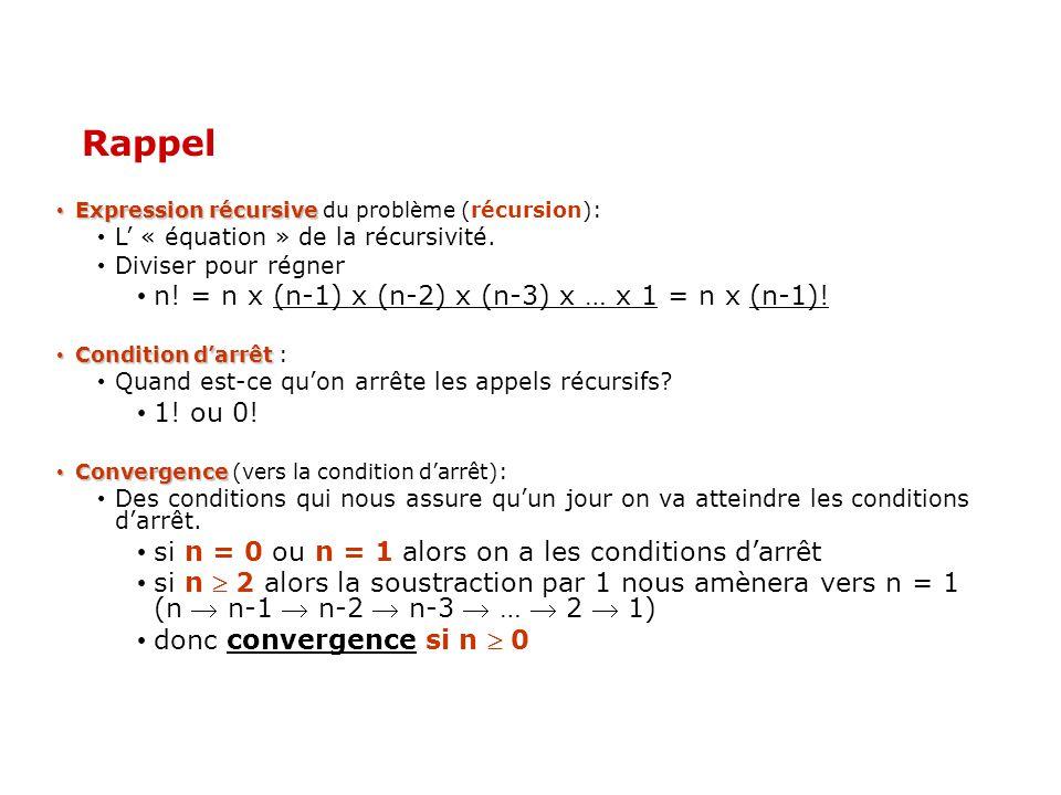 Rappel Expression récursive Expression récursive du problème (récursion): L « équation » de la récursivité. Diviser pour régner n! = n x (n-1) x (n-2)