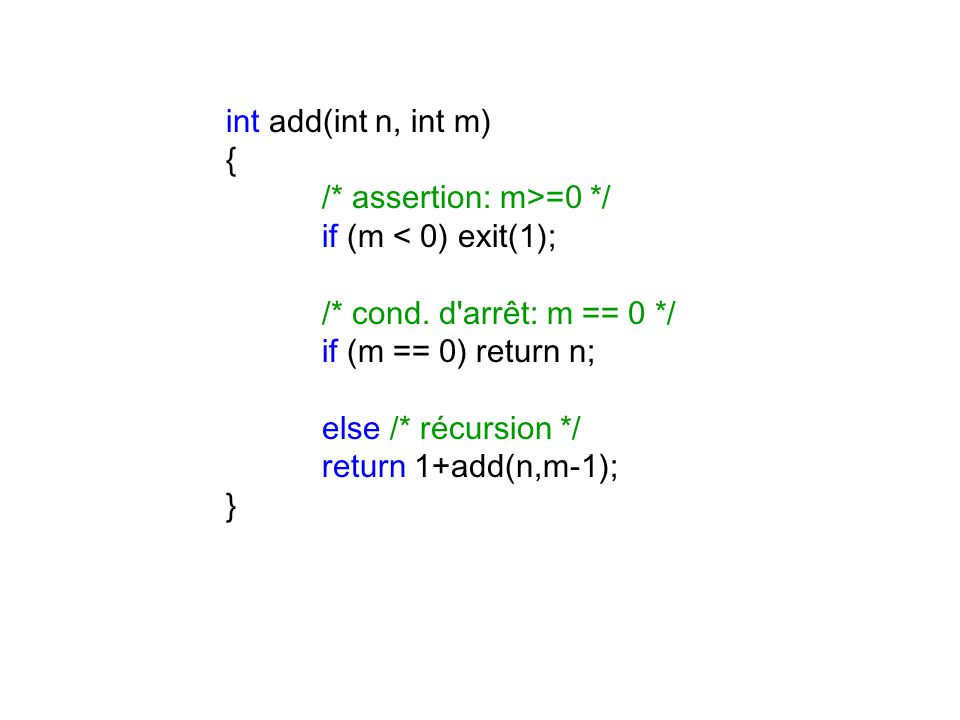 int add(int n, int m) { /* assertion: m>=0 */ if (m < 0) exit(1); /* cond.