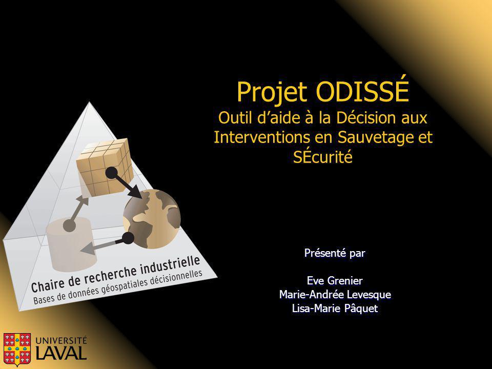 Présenté par Eve Grenier Marie-Andrée Levesque Lisa-Marie Pâquet Projet ODISSÉ Outil daide à la Décision aux Interventions en Sauvetage et SÉcurité