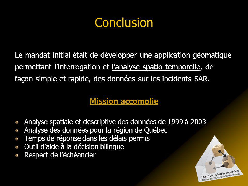 Conclusion Le mandat initial était de développer une application géomatique permettant linterrogation et lanalyse spatio-temporelle, de façon simple et rapide, des données sur les incidents SAR.