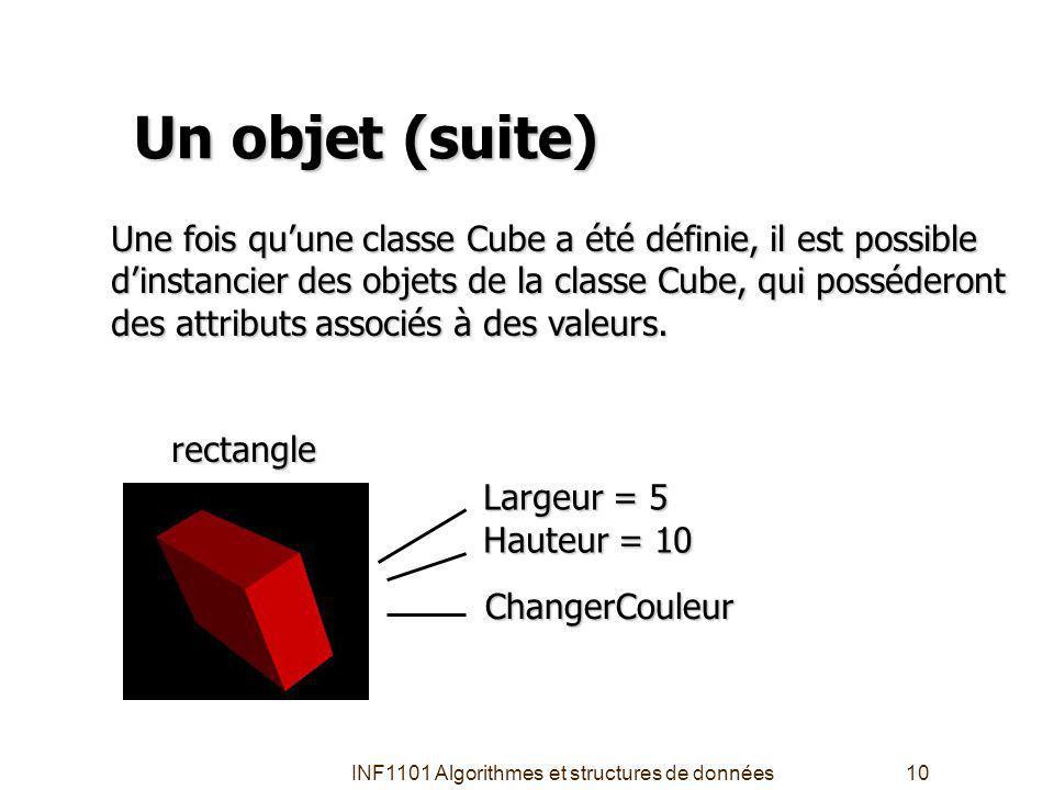 INF1101 Algorithmes et structures de données10 Un objet (suite) Une fois quune classe Cube a été définie, il est possible dinstancier des objets de la classe Cube, qui posséderont des attributs associés à des valeurs.