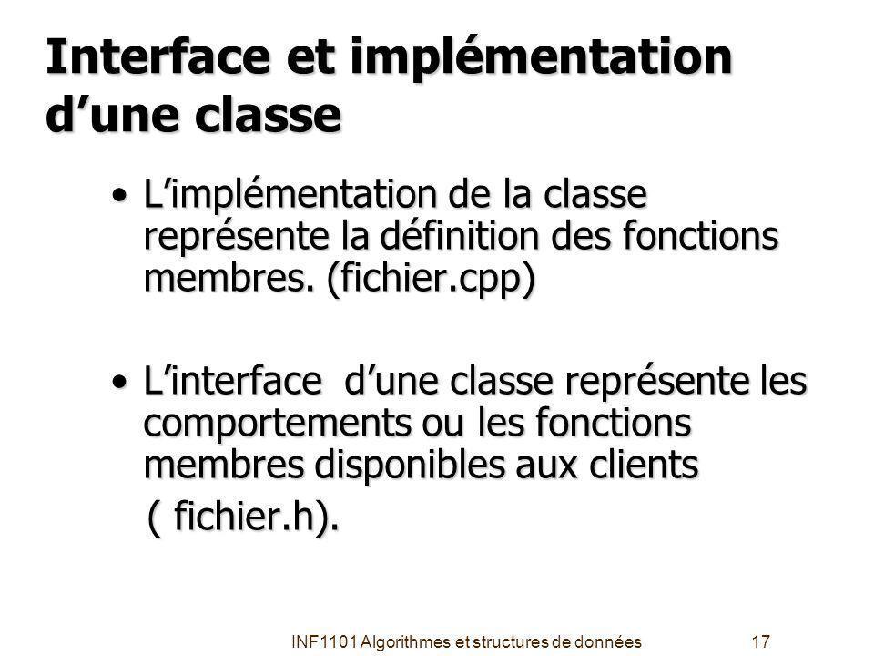 INF1101 Algorithmes et structures de données17 Interface et implémentation dune classe Limplémentation de la classe représente la définition des fonctions membres.