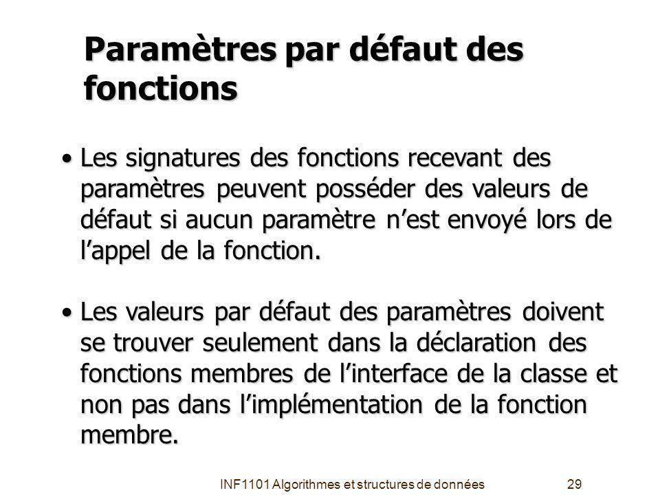 INF1101 Algorithmes et structures de données29 Paramètres par défaut des fonctions Les signatures des fonctions recevant des paramètres peuvent posséder des valeurs de défaut si aucun paramètre nest envoyé lors de lappel de la fonction.Les signatures des fonctions recevant des paramètres peuvent posséder des valeurs de défaut si aucun paramètre nest envoyé lors de lappel de la fonction.