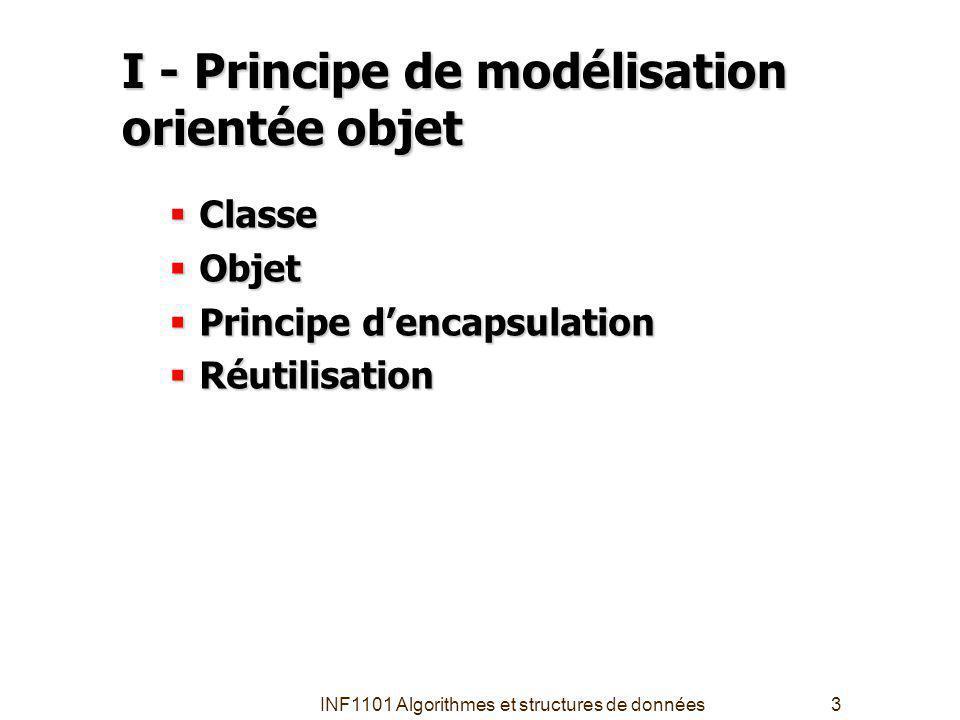 INF1101 Algorithmes et structures de données3 I - Principe de modélisation orientée objet Classe Classe Objet Objet Principe dencapsulation Principe dencapsulation Réutilisation Réutilisation