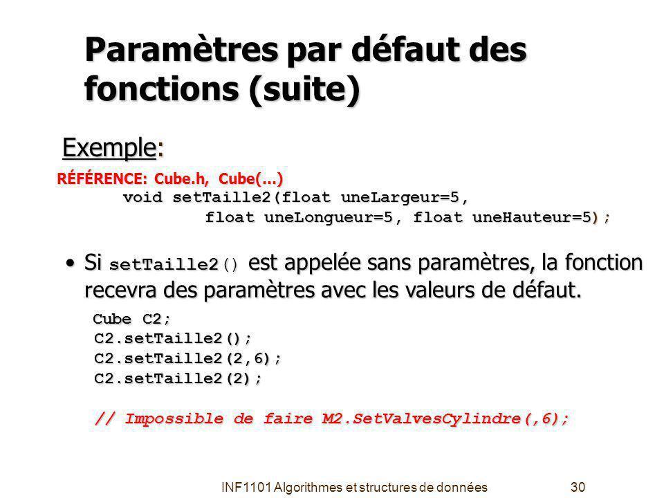 INF1101 Algorithmes et structures de données30 Paramètres par défaut des fonctions (suite) RÉFÉRENCE: Cube.h, Cube(…) void setTaille2(float uneLargeur=5, float uneLongueur=5, float uneHauteur=5); float uneLongueur=5, float uneHauteur=5); Exemple: Si setTaille2() est appelée sans paramètres, la fonction recevra des paramètres avec les valeurs de défaut.Si setTaille2() est appelée sans paramètres, la fonction recevra des paramètres avec les valeurs de défaut.