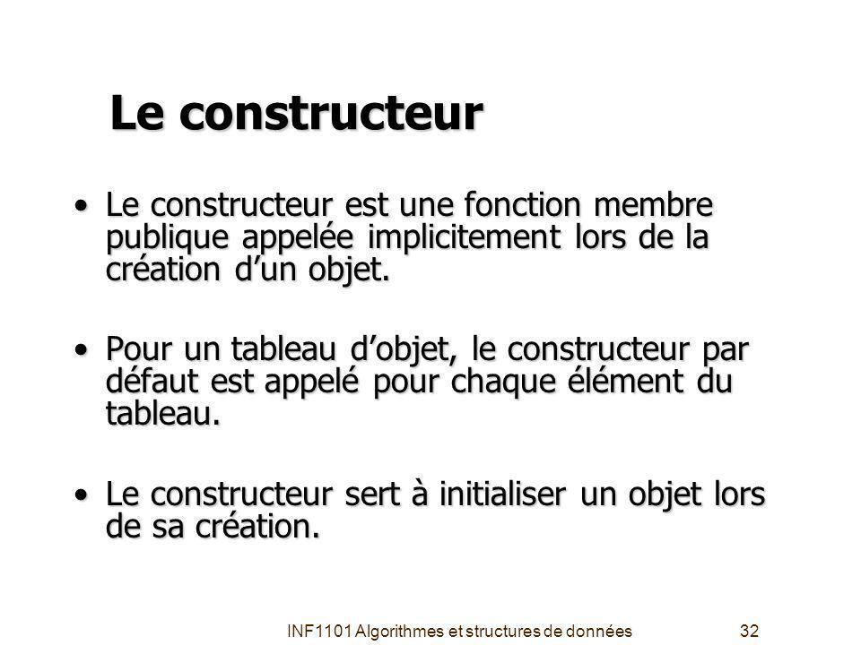 INF1101 Algorithmes et structures de données32 Le constructeur Le constructeur est une fonction membre publique appelée implicitement lors de la création dun objet.Le constructeur est une fonction membre publique appelée implicitement lors de la création dun objet.