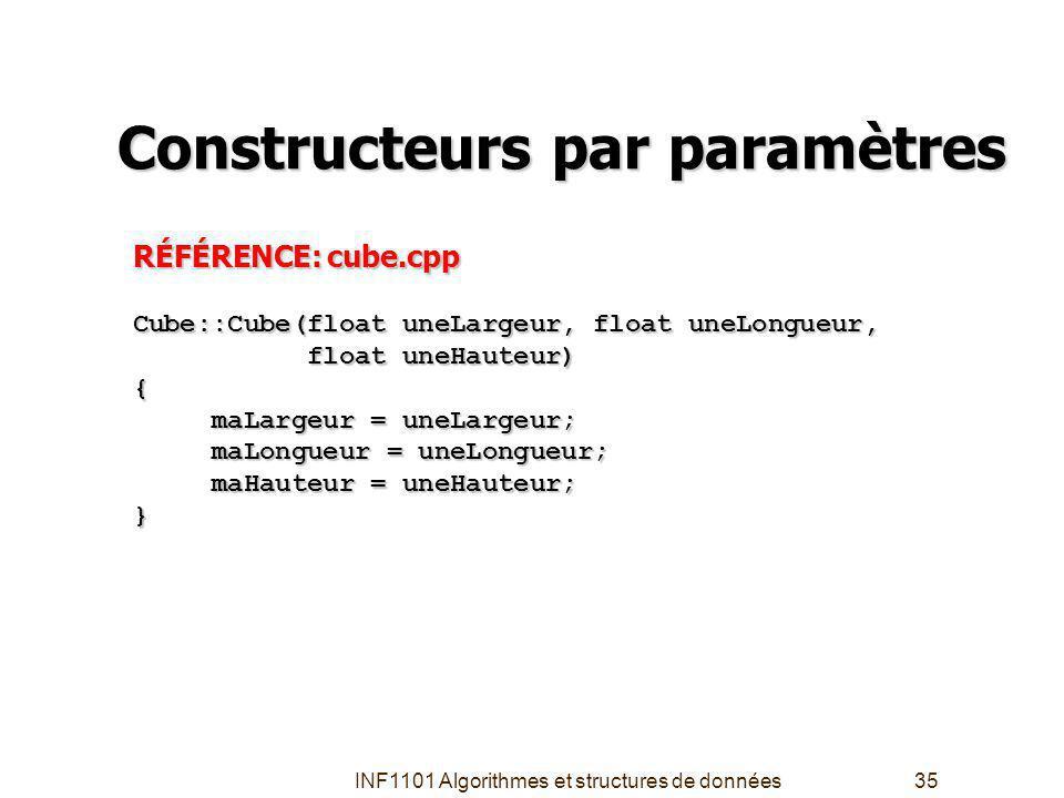 INF1101 Algorithmes et structures de données35 Constructeurs par paramètres RÉFÉRENCE: cube.cpp Cube::Cube(float uneLargeur, float uneLongueur, float uneHauteur) float uneHauteur){ maLargeur = uneLargeur; maLargeur = uneLargeur; maLongueur = uneLongueur; maLongueur = uneLongueur; maHauteur = uneHauteur; maHauteur = uneHauteur;}