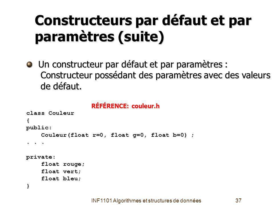 INF1101 Algorithmes et structures de données37 Constructeurs par défaut et par paramètres (suite) Un constructeur par défaut et par paramètres : Un constructeur par défaut et par paramètres : Constructeur possédant des paramètres avec des valeurs Constructeur possédant des paramètres avec des valeurs de défaut.