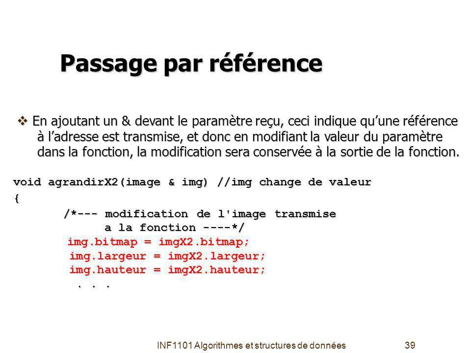 INF1101 Algorithmes et structures de données39 Passage par référence void agrandirX2(image & img) //img change de valeur { /*--- modification de l image transmise /*--- modification de l image transmise a la fonction ----*/ a la fonction ----*/ img.bitmap = imgX2.bitmap; img.bitmap = imgX2.bitmap; img.largeur = imgX2.largeur; img.largeur = imgX2.largeur; img.hauteur = imgX2.hauteur; img.hauteur = imgX2.hauteur;......